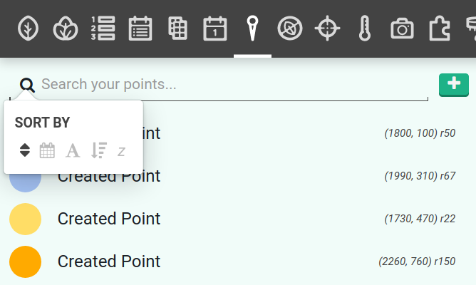 point sort menu