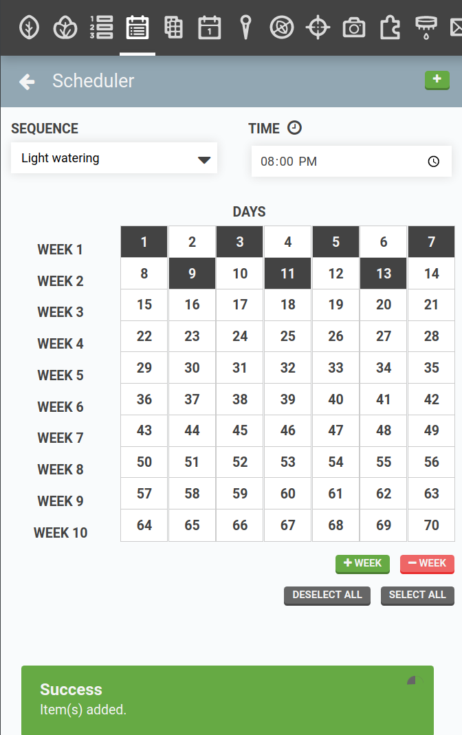 regimen scheduler with light watering sequence added