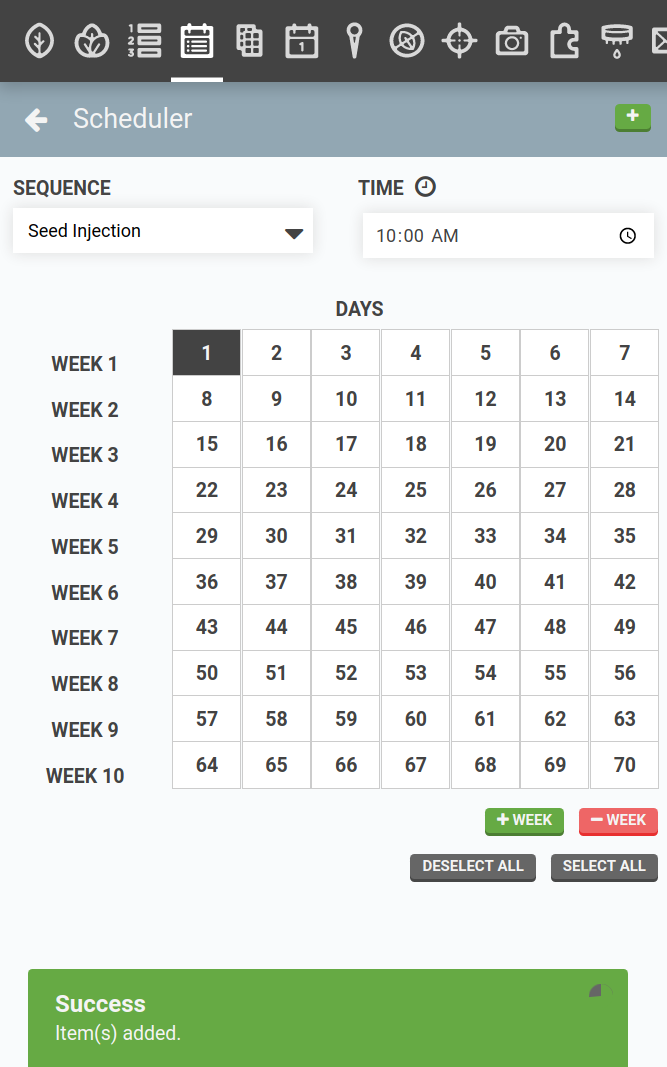regimen scheduler with seed injection added