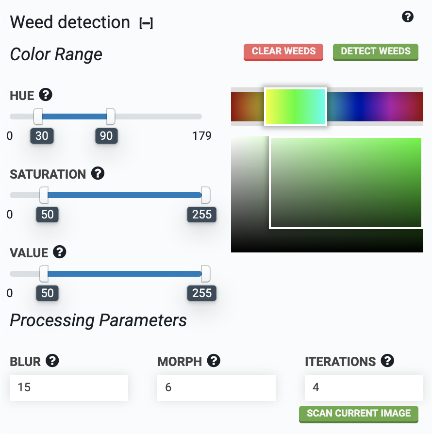 weed detection color range inputs