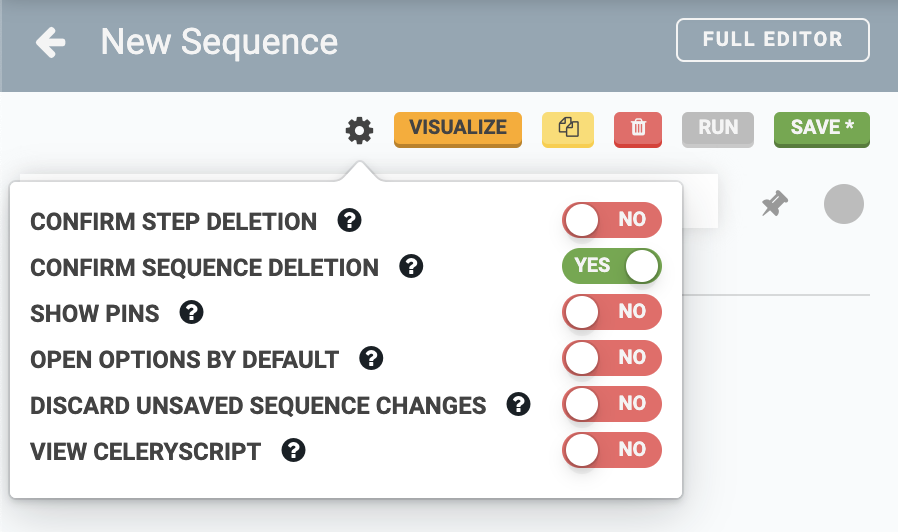 sequence editor options